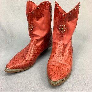 Neolite Bright Red Studded Ankle Western Boots 9.5